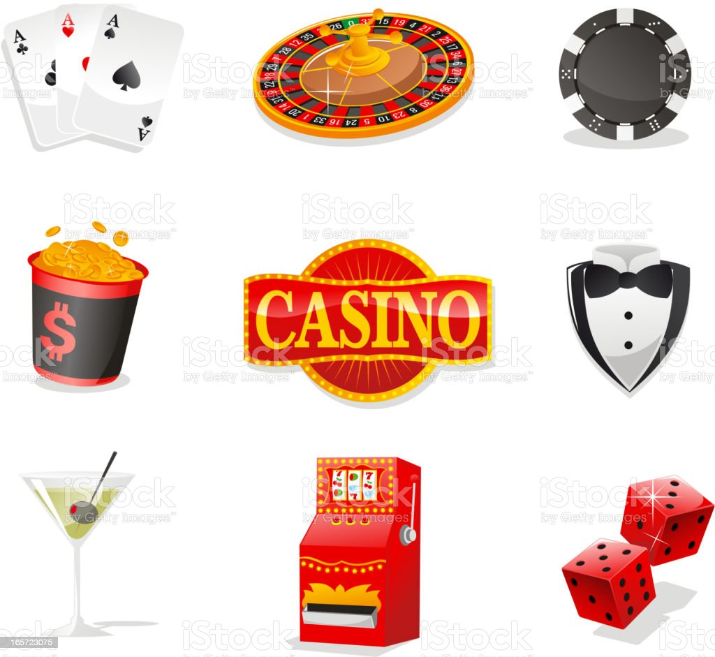 Casino design elements Cards Roulette Chips Coins Drink Slot Dice vector art illustration