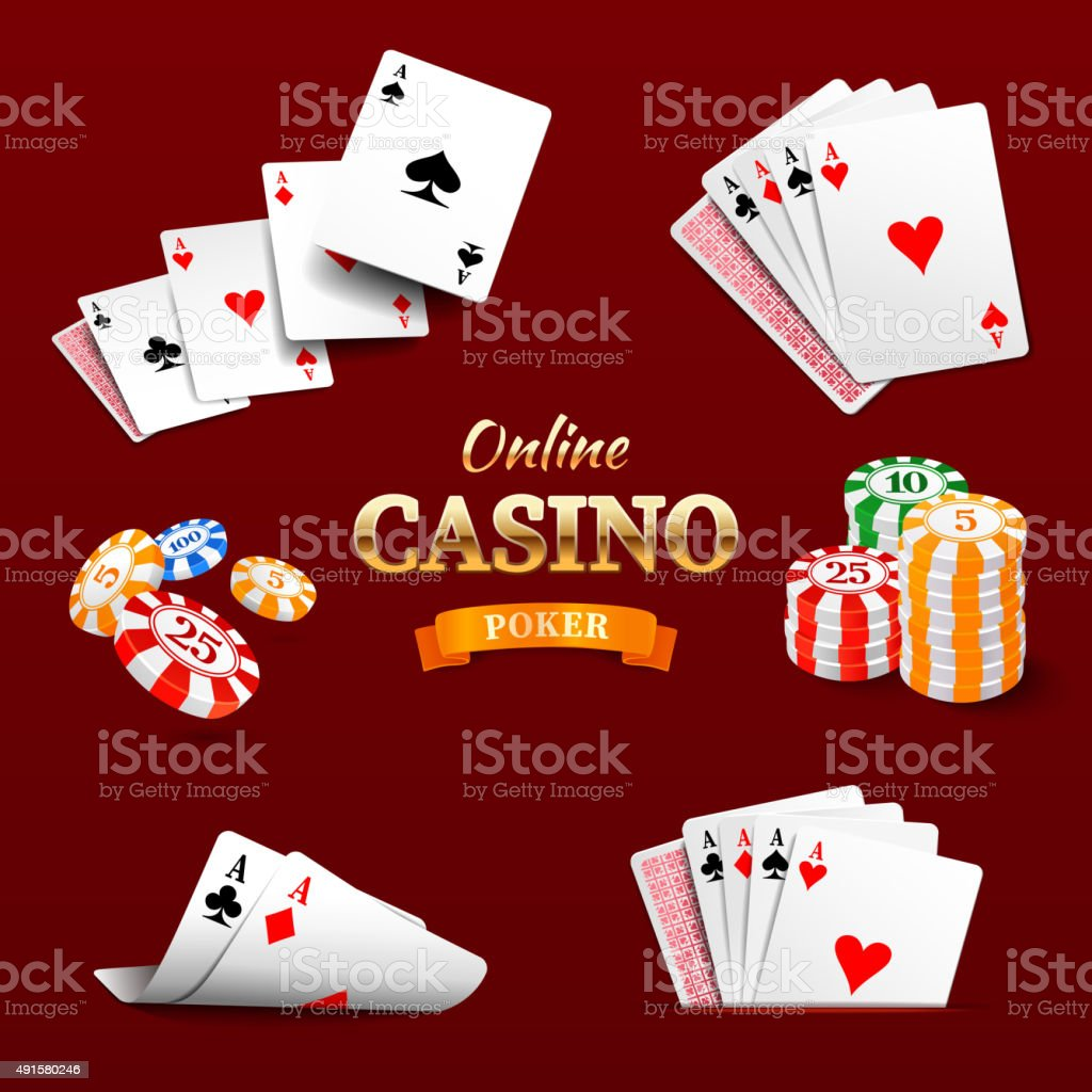 Casino design elements poker chips, playing cards and craps vector art illustration