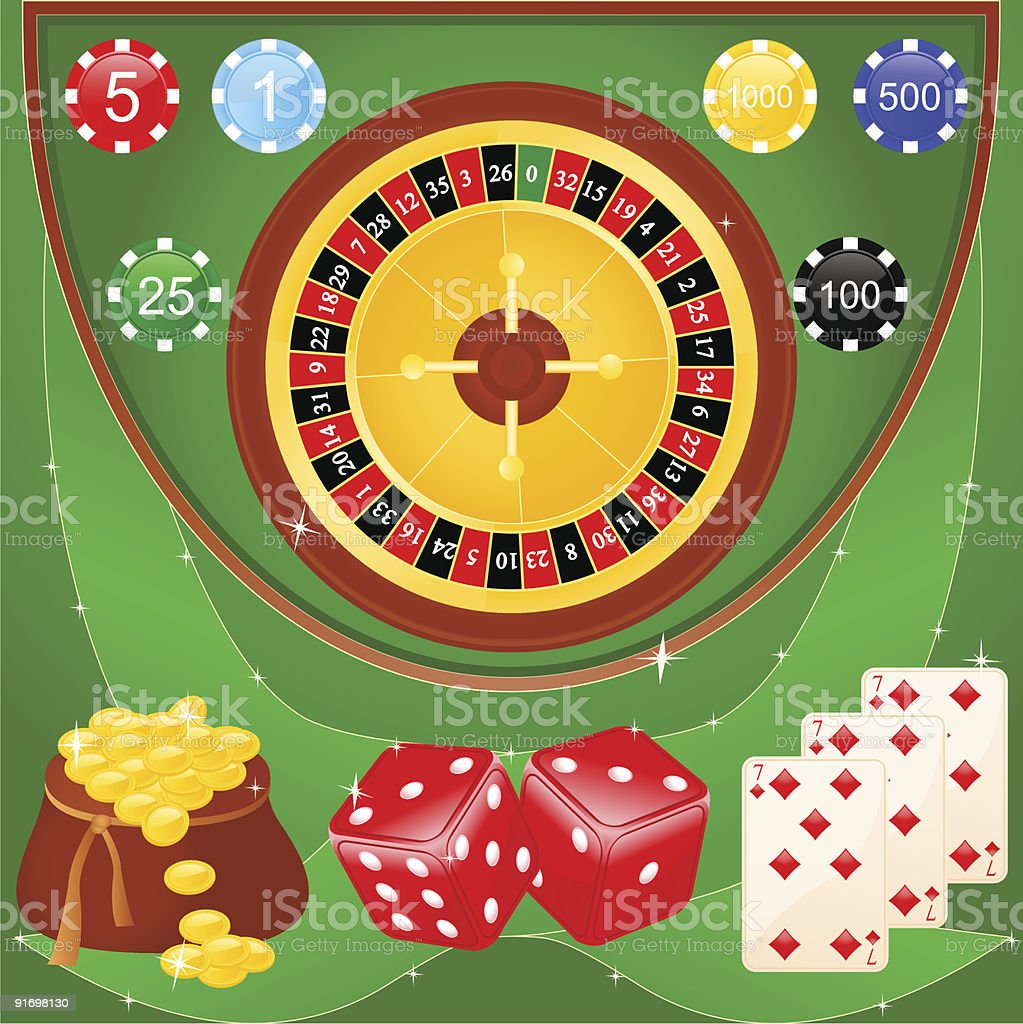 Casino elements vector art illustration