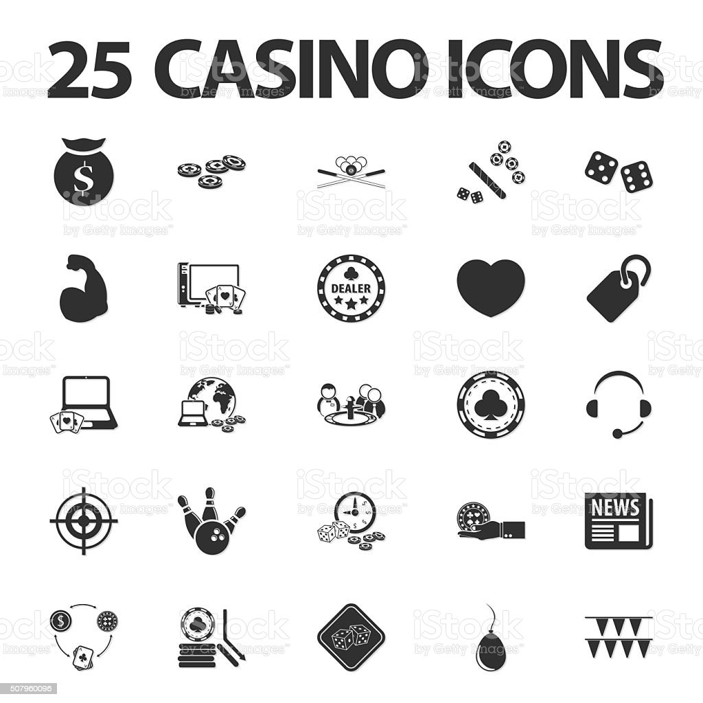 Casino, gambling 25 black simple icons set for web vector art illustration