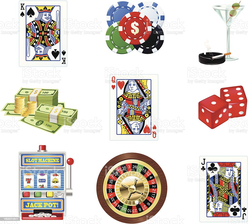 Casino Icons vector art illustration