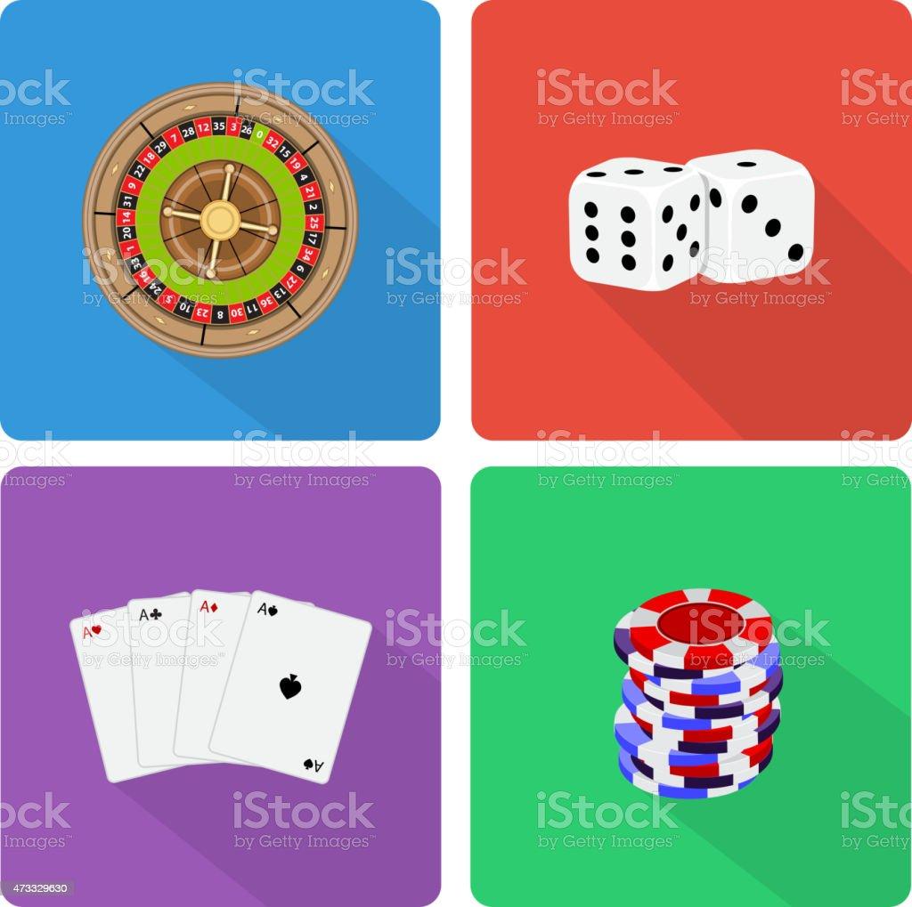 Casino icons vector art illustration