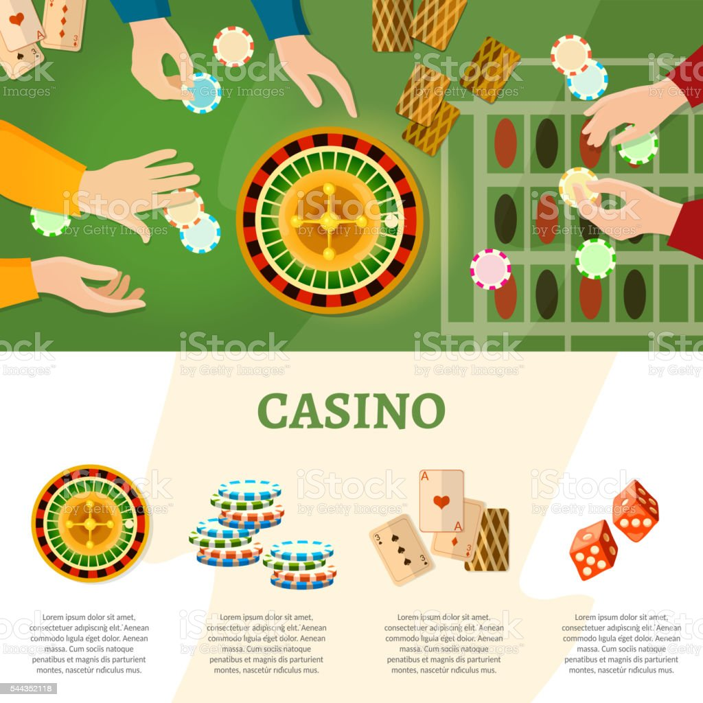 Casino infographics people play roulette playing cards vector art illustration