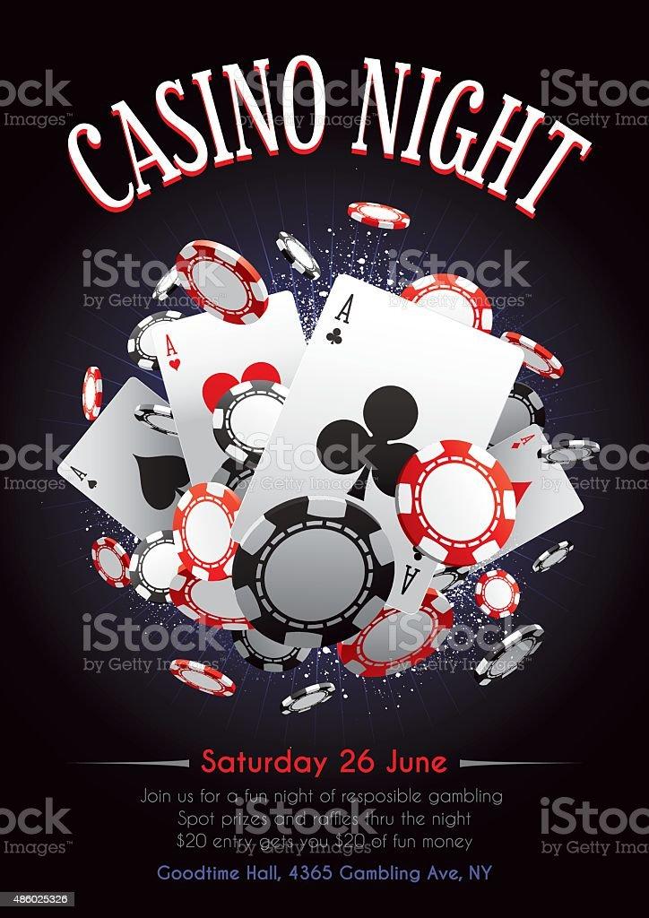 Casino night poster vector art illustration