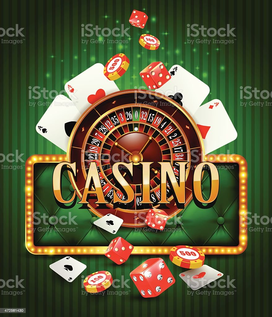 Casino poster featuring different gambling games vector art illustration