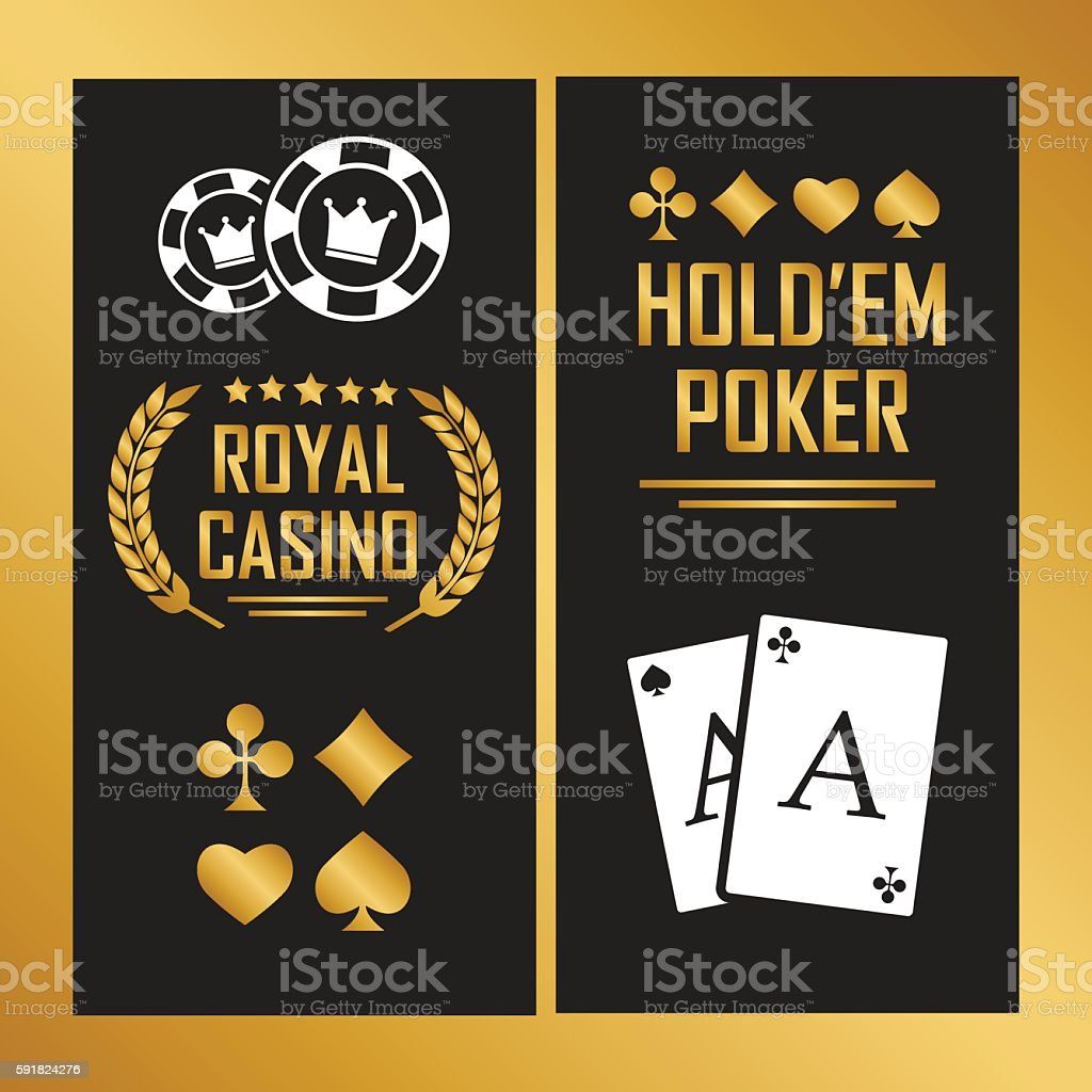 Casino poster with cards for poker play chips vector art illustration