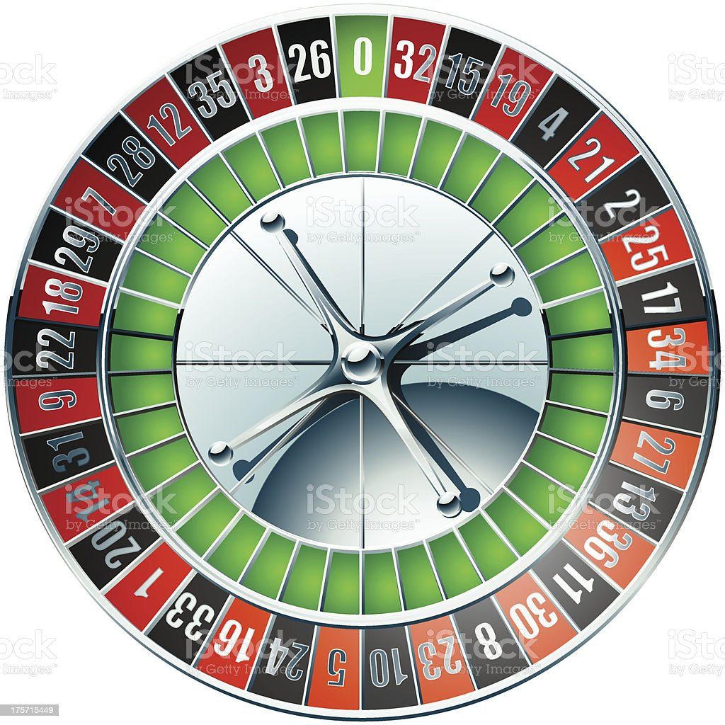 Casino roulette wheel with chrome elements vector art illustration