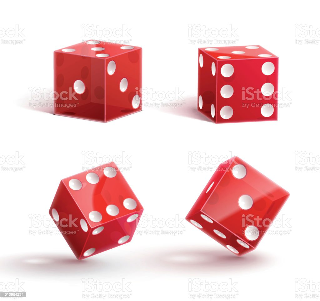 casino rulette red dice cube isolated on white vector art illustration