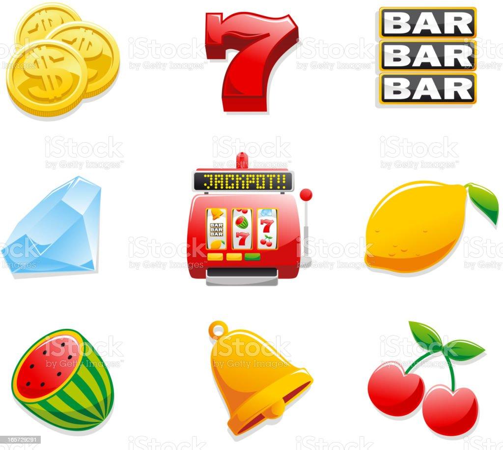 Casino Slot Machine Icons Coins Seven Bar Diamond Jackpot Lemon vector art illustration