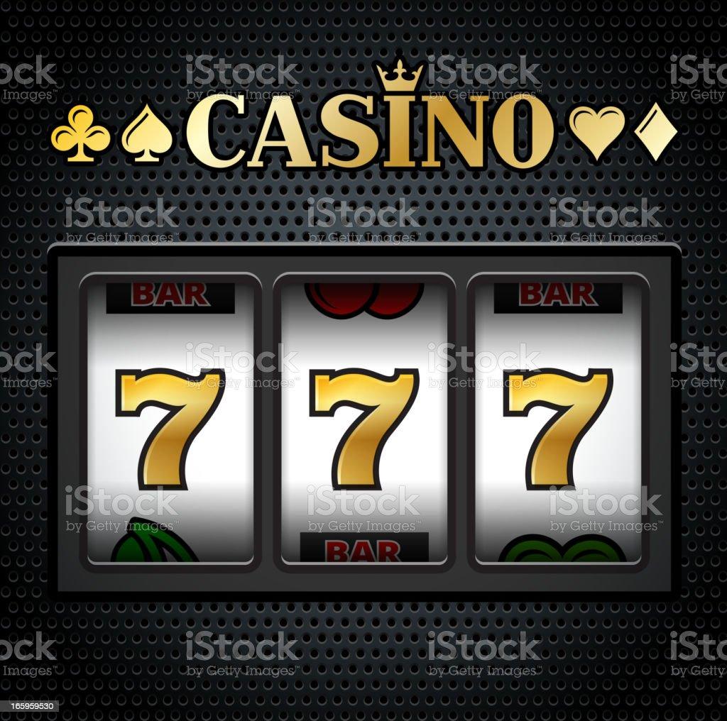 Casino Slot Machine Sevens on Black Background vector art illustration