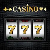 Casino Slot Machine Sevens on Black Background