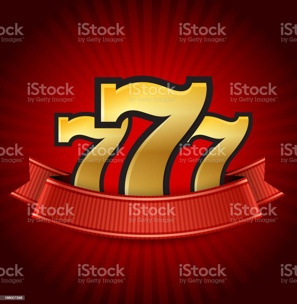 Casino Slot Machine Sevens with Ribbons on Red Background vector art illustration