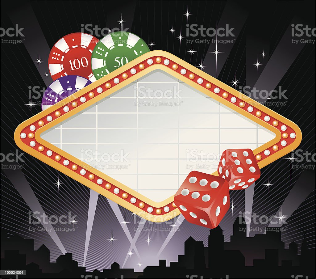 Casino-style marquee frame with dice and space for text vector art illustration