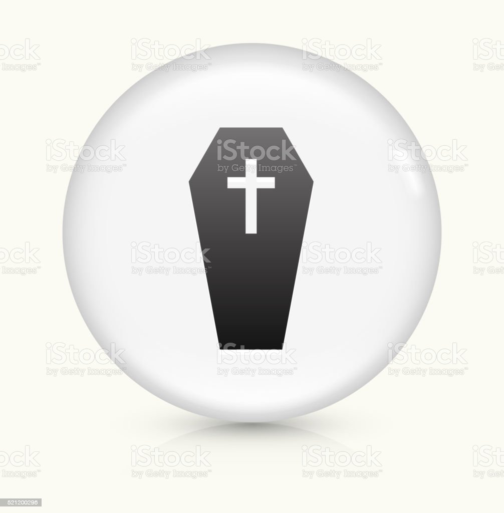 Casket and Cross icon on white round vector button vector art illustration