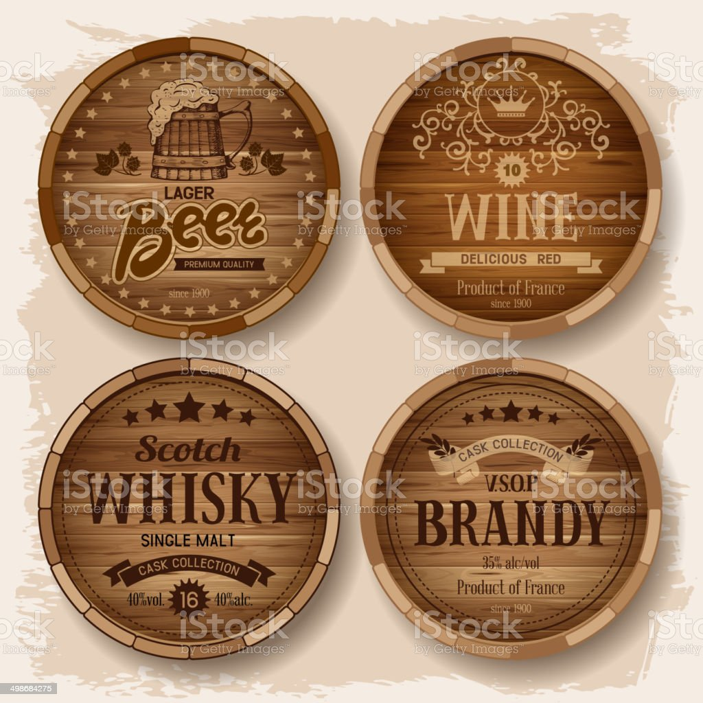 Casks with alcohol drinks vector art illustration