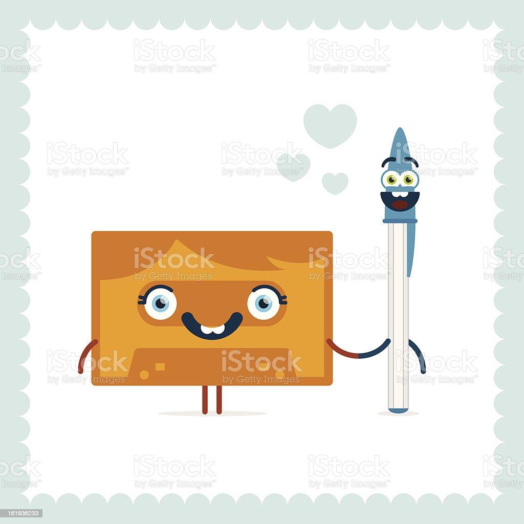 Cassette and ballpoint pen love royalty-free stock vector art