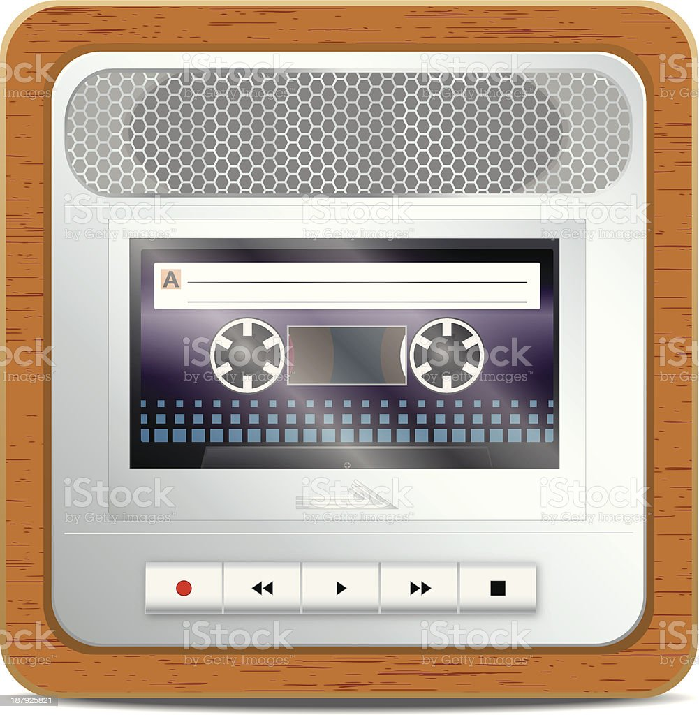 Cassette recorder square icon royalty-free stock vector art