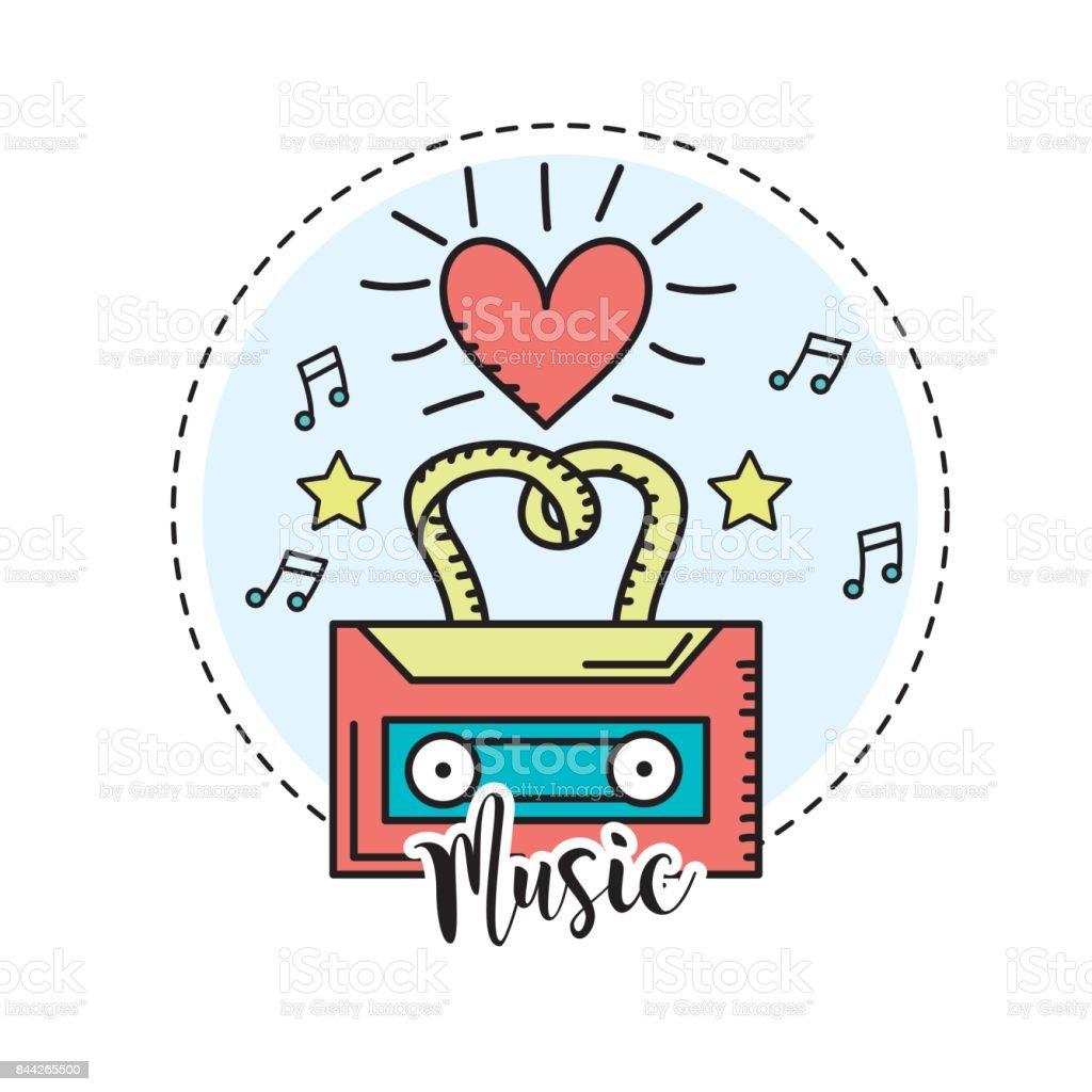 cassette to listen and play music vector art illustration