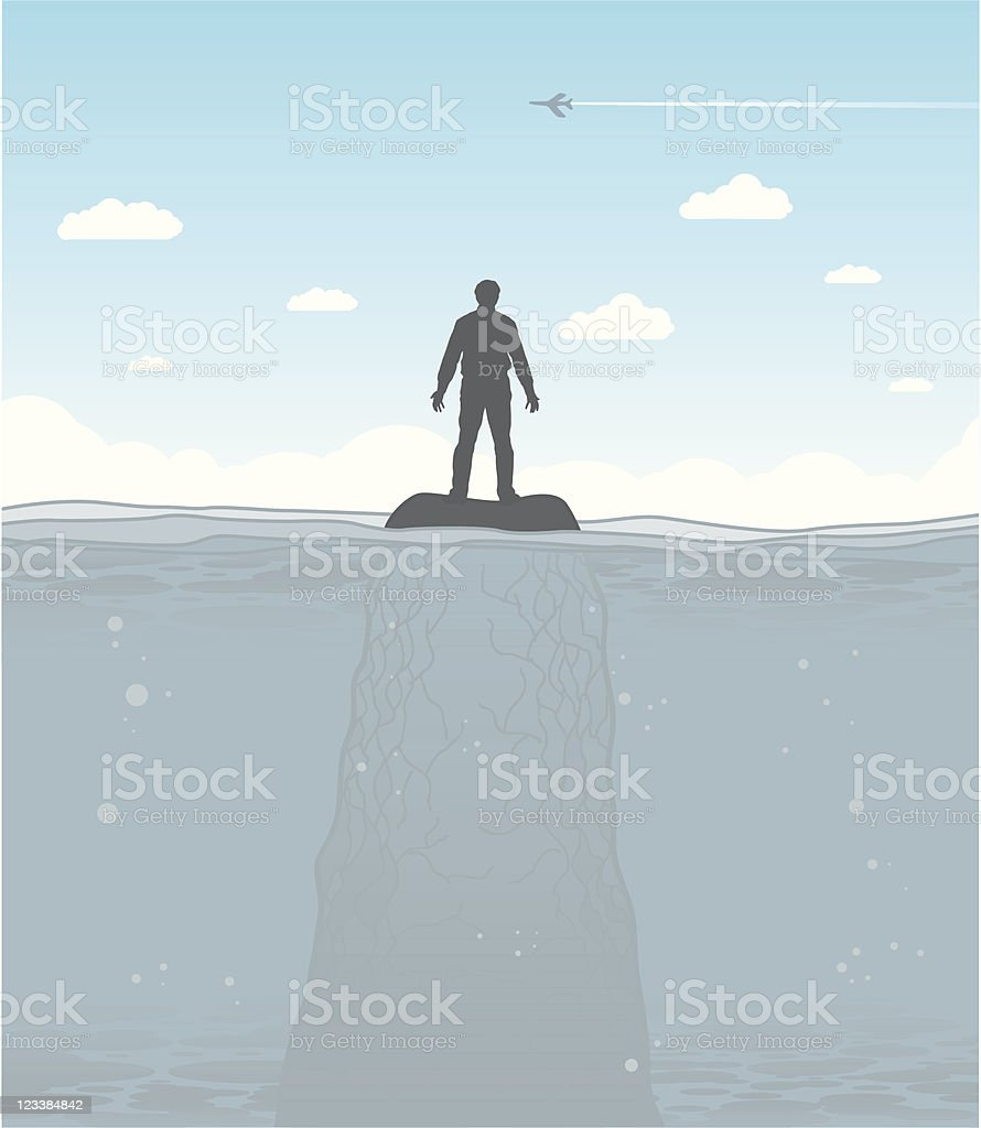 Cast away vector art illustration