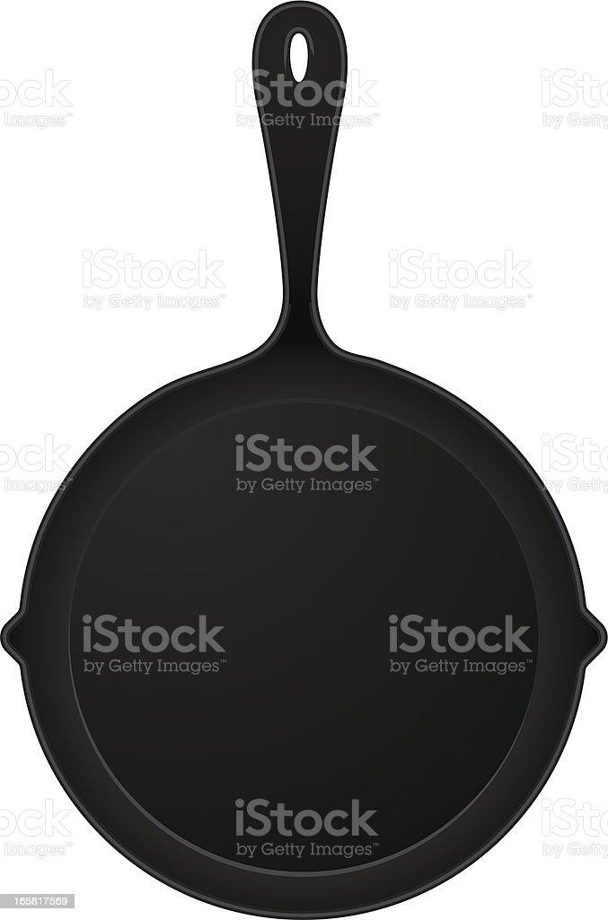 cast iron pan vector art illustration