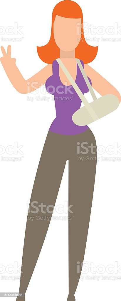 Cast on an broken foot of woman hard pain medical vector art illustration