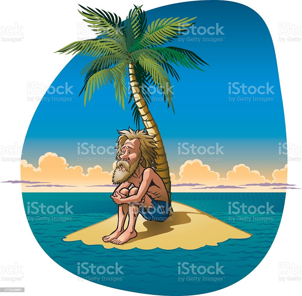 Castaway vector art illustration