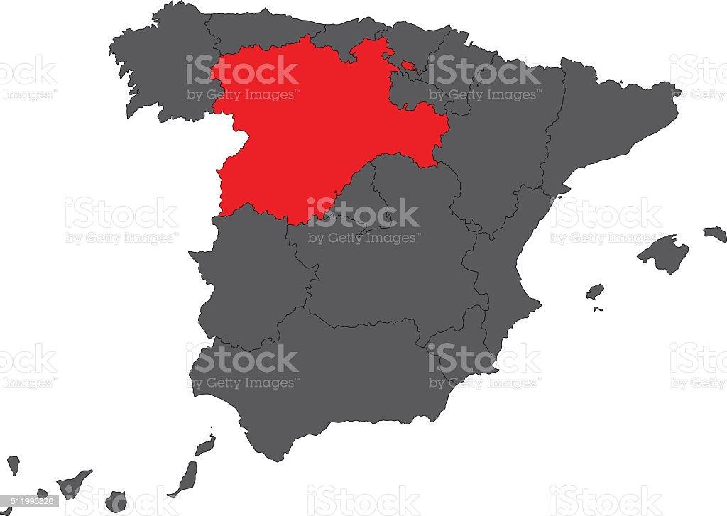 Castilla and Leon red map on gray Spain map vector vector art illustration