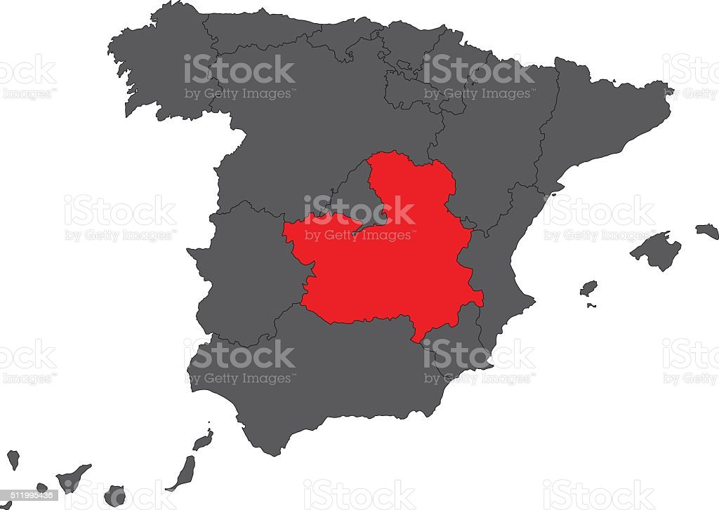 Castilla la Mancha red map on gray Spain map vector vector art illustration