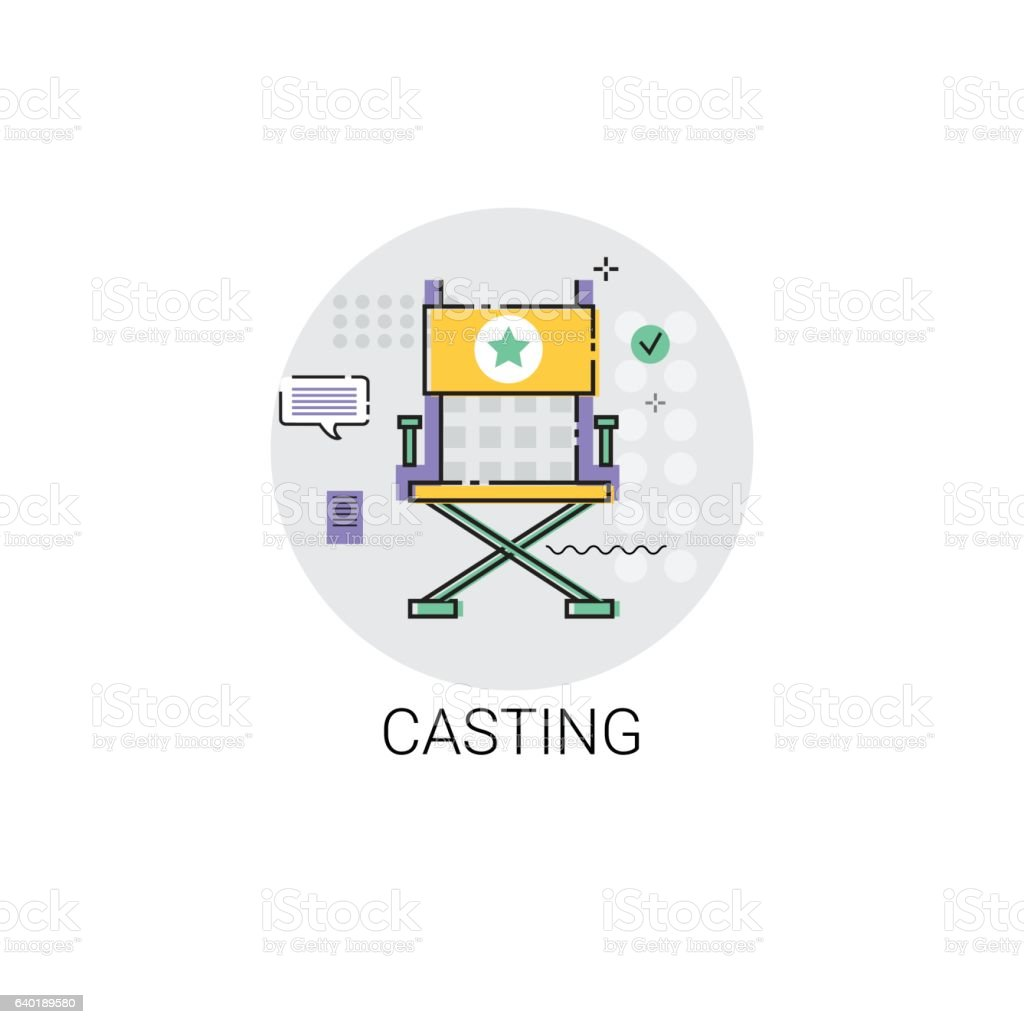 Casting Camera Film Production Industry Icon vector art illustration
