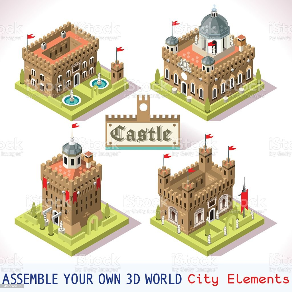 Castle 01 Tiles Isometric vector art illustration