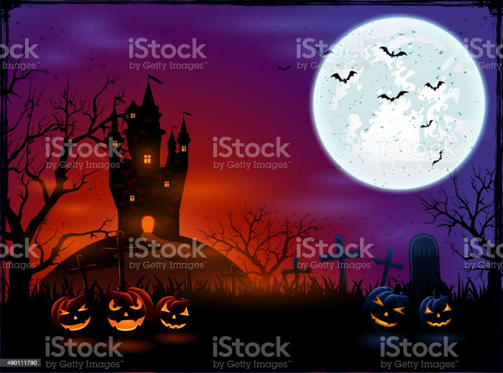 Castle and Halloween pumpkins vector art illustration