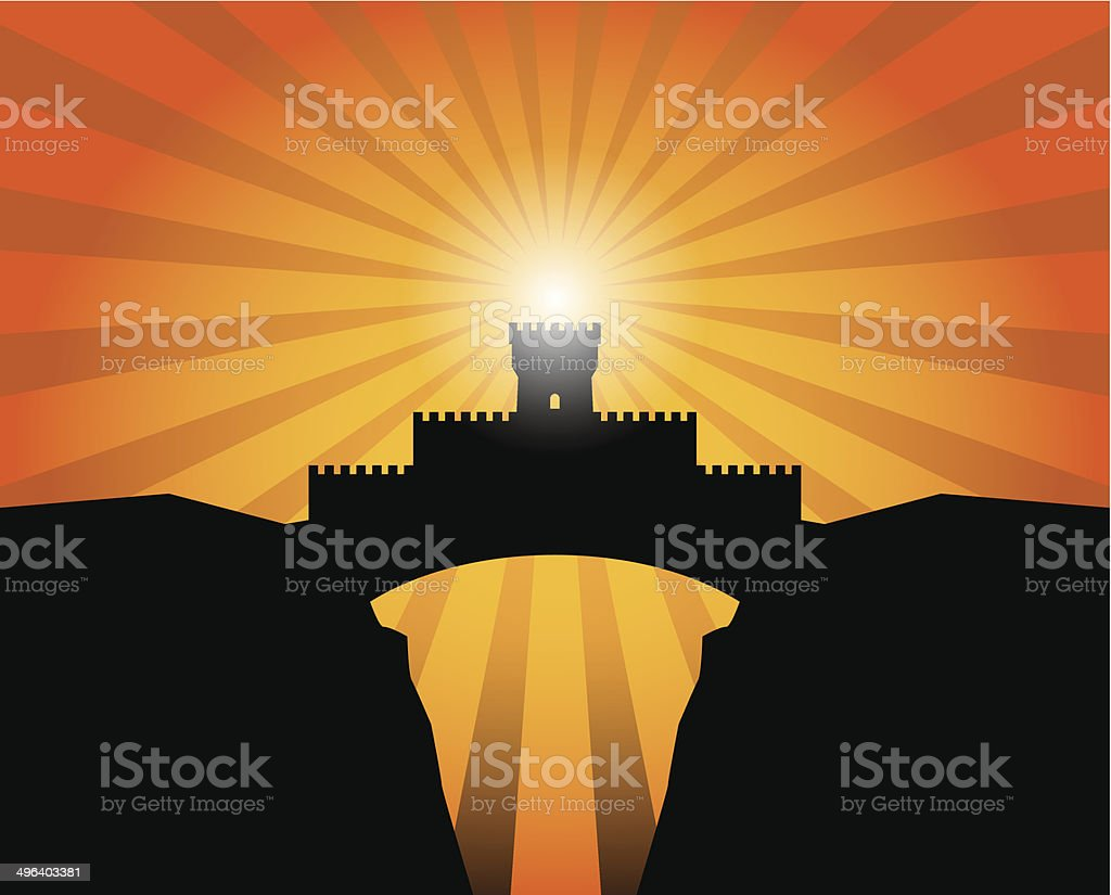 Castle background vector art illustration