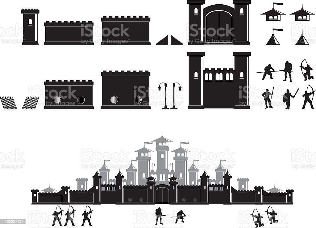 Castle construction set vector art illustration