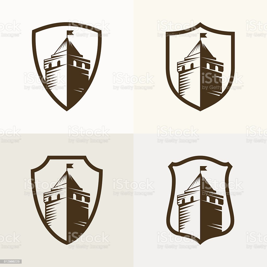 castle fortress on shield, vector icon illustration vector art illustration