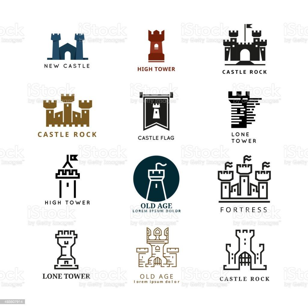 Castle, fortress vector logo set vector art illustration