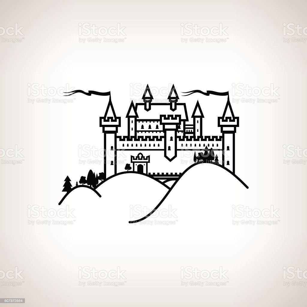 Castle Hill on a Light Background vector art illustration