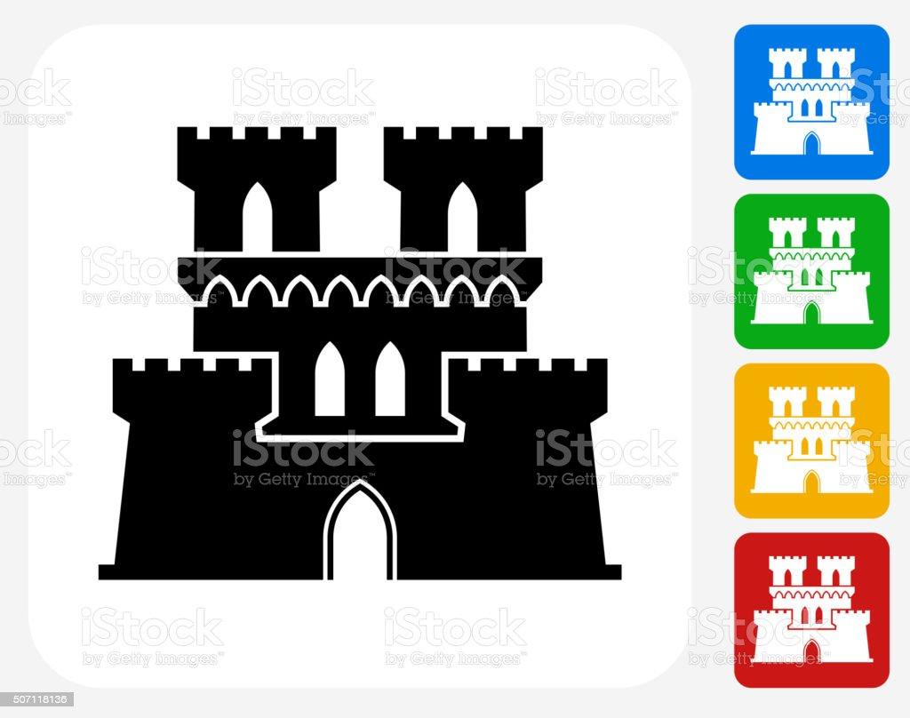 Castle Icon Flat Graphic Design vector art illustration