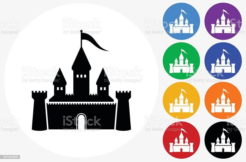 Castle Icon on Flat Color Circle Buttons vector art illustration