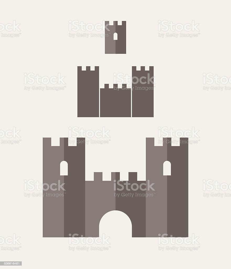 Castle. Icon set vector art illustration