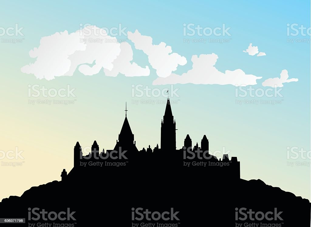Castle In The Clouds vector art illustration