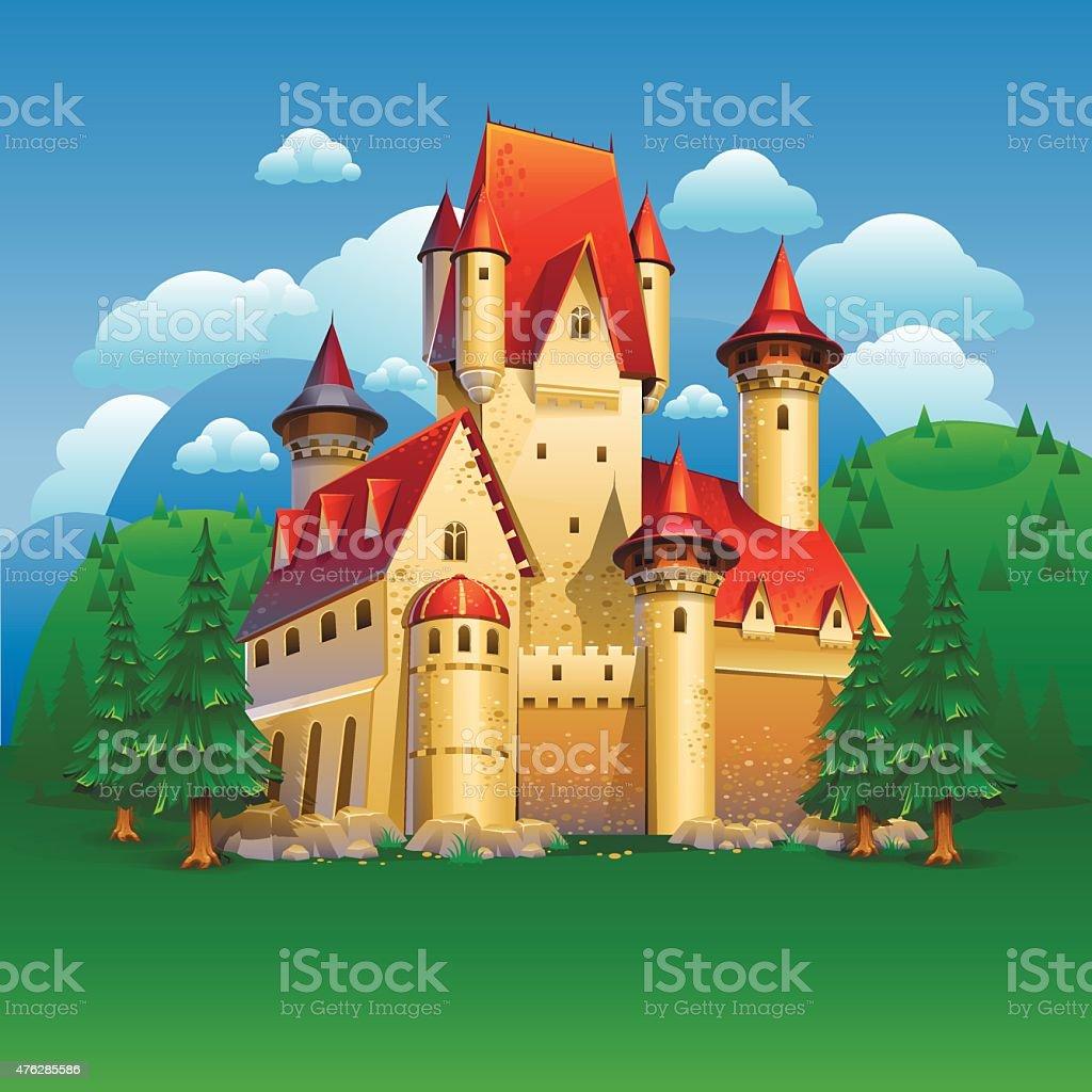 Castle landscape vector art illustration