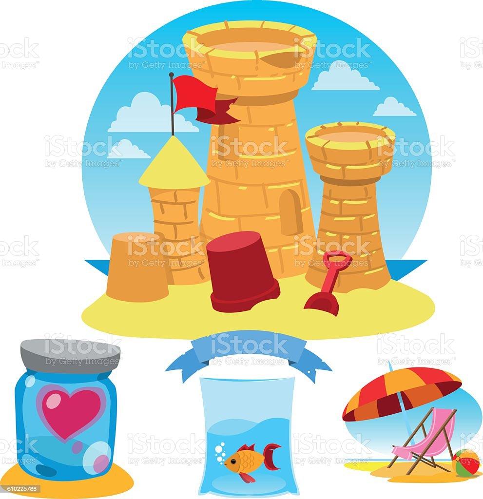 Castle of sand, heart, fish, beach umbrella and chair. vector art illustration