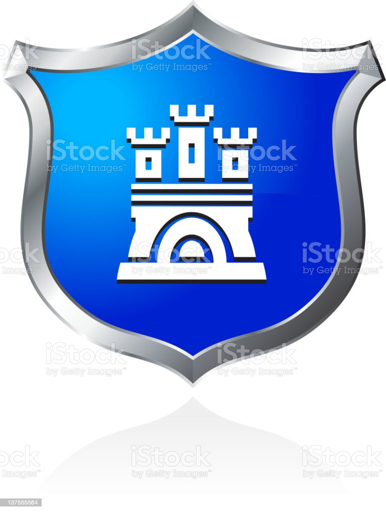Castle on shield royalty-free stock photo