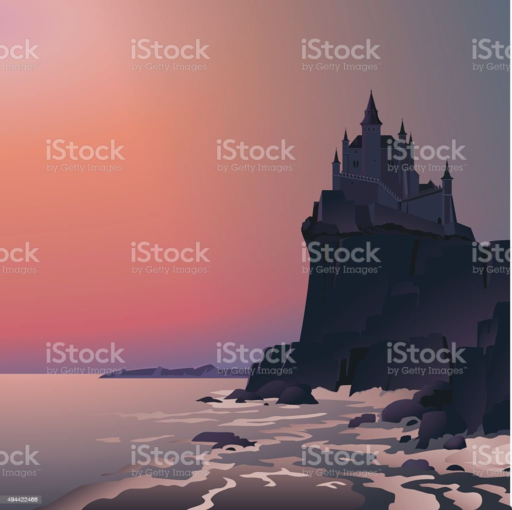 Castle on the cliff in last rays of setting sun vector art illustration