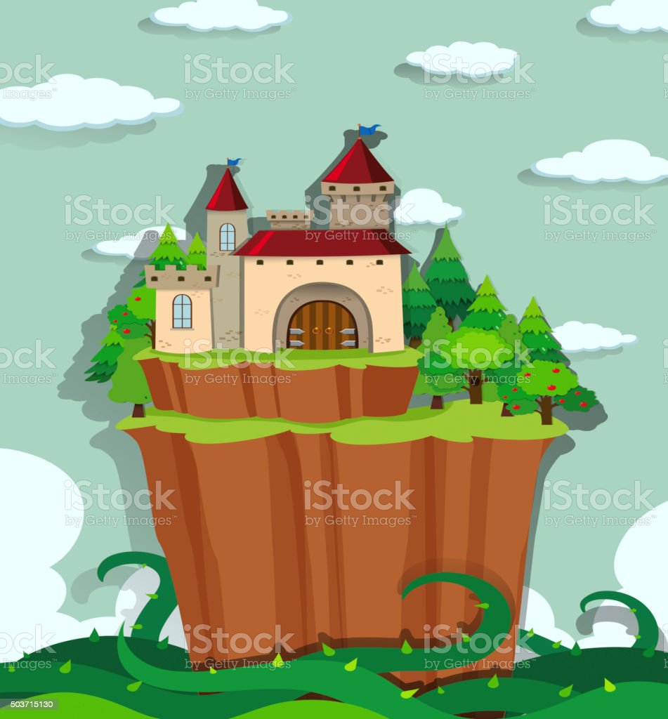 Castle on the island vector art illustration
