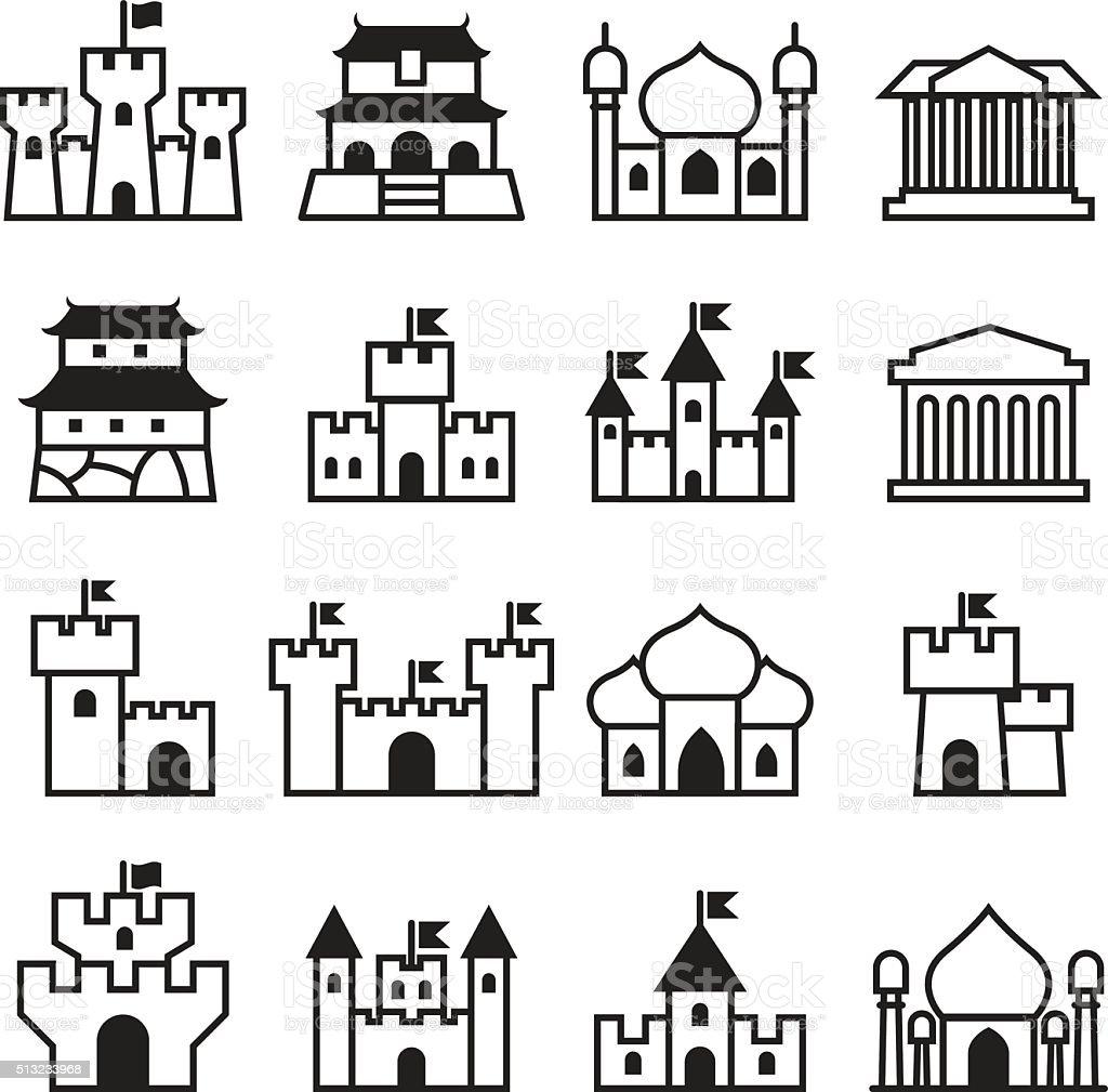 Castle & palace icon set 2 vector art illustration