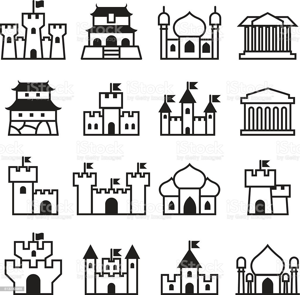 Castle & palace icon set 2 vector art illustration