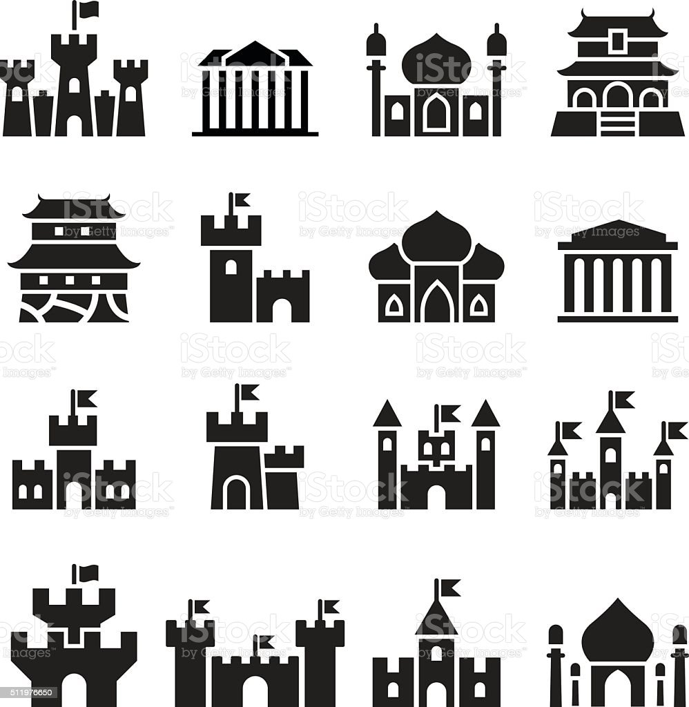 Castle & palace icons vector art illustration