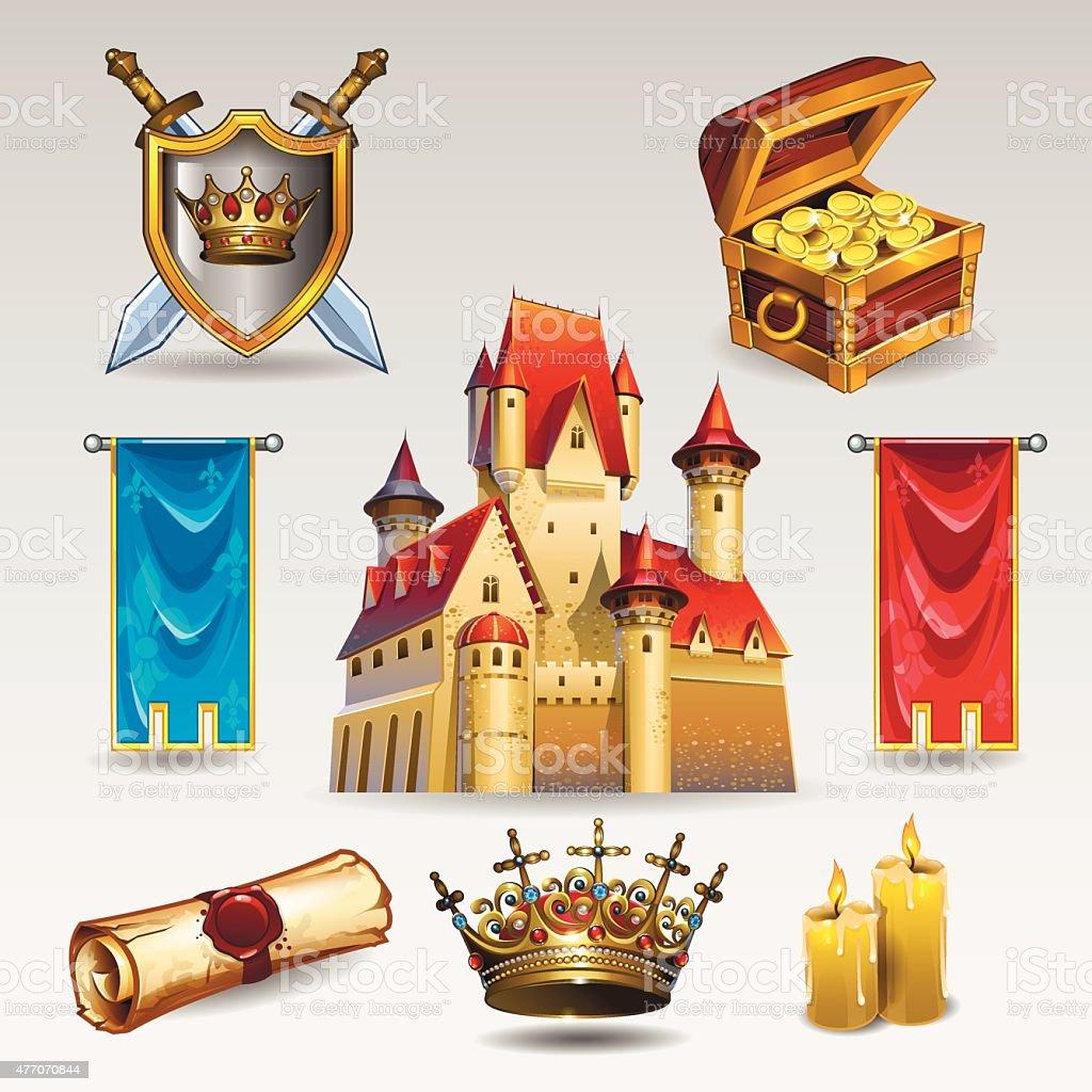 Castle set vector art illustration