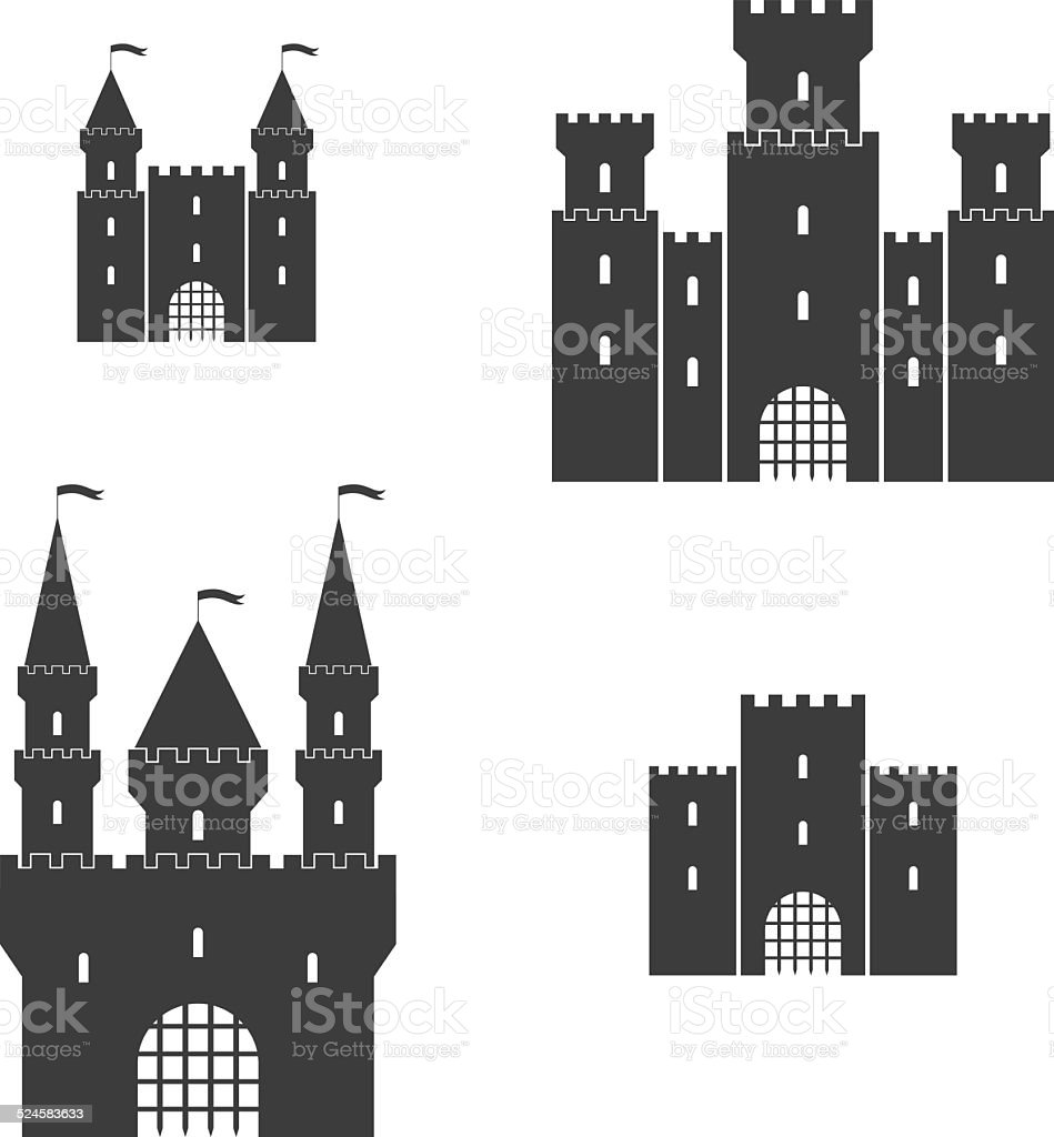 Castle. Set vector art illustration